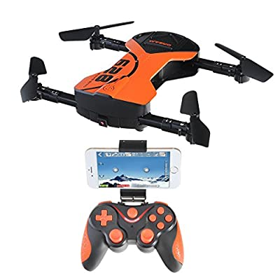 Foldable Drone,Voice Control flight APP Camera Quadcopter Drone 2.4G 6-Axis Gyro Drone with Altitude Hold 360°Rotation Headless Mode Gravity Sensor RC Quadrotor with 1M Camera/LED light/One Key Return