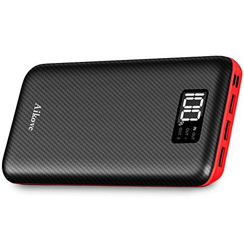 Power Bank 24000mAh Cargador Móvil Portátil Batería Externa con Entrada Doble y 3 Puertos de Salida USB & Pantalla Digital para iPhone X/8/8Plus, iPad Samsung Galaxy S9/S8, Tablets y mucho más