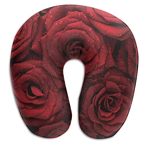 Fun Life Art Travel U Shaped Pillow Reisekissen und Nackenkissen for Neck Pain Side Sleepers Comfortable Cervical Head Neck Support Pillows for Airplanes Home Office Car - (Red Roses with Rain Drops) -