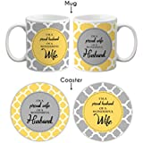 YaYa Cafe Tyyc Couple Coffee Mugs With Coasters For Valentines Anniversary Gifts, 11Oz(Grey And White) - Set Of 4