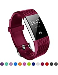 Kutop für Fitbit Charge 2 Armband, TPU weiches Silikon sports Ersetzerband Silikagel Diamond Pattern Fitness verstellbares Uhrenarmband für Fitbit Charge 2