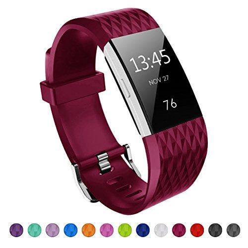 Kutop für Fitbit Charge 2 Armband, TPU weiches Silikon sports Ersetzerband Silikagel Diamond Pattern Fitness verstellbares Uhrenarmband für Fitbit Charge 2(5.1-8.1in)