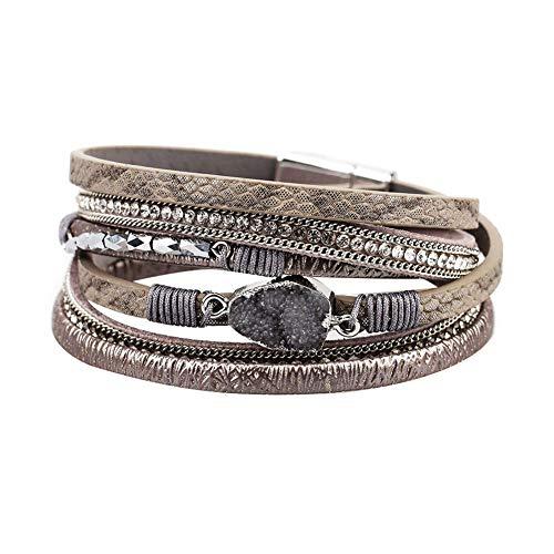 Fattigger Armband für Damen, modisches Armband & Bohemian Frauen Strass Kunstleder Multilayer Armband Magnet-Armreif, Weihnachten, 5-10 Tage