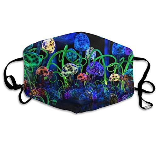 SDFDD Mouth Maske,Trippy Light Mushroom Mouth Mask Unisex Anti-Dust Mask Reusable Mask for Men and Women