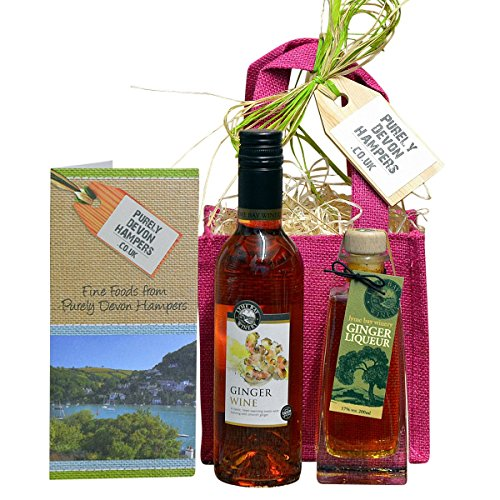 Purely Devon Hampers - Ginger Wine and Whisky Liqueur in a gift bag (raspberry jute bag) Anniversary Gift Hamper