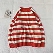 Fashion Green And Black Striped Knitted Sweater Men And Women Fall/Winter Round Neck Casual Pullover