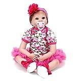 JZM 55Cm Vollvinyl-Silikon-Körper-Real Touch-Baby-Lebensechte Reborn-Puppen Realistisches Neugeborenes Baby-Puppe Schlafendes Mädchen mit Freiem Attrappe-Bestem Geschenk Für Weihnachten