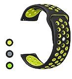 MroTech Gear S2 Classic/Gear Sport Bracelet Silicone, 20mm Watch Band pour Montre Withings Steel HR 40mm, Garmin Vivoactive 3, Moto 360 2nd Gen 42mm, Huawei Watch 2 Sport et plus montres (Noir Jaune)