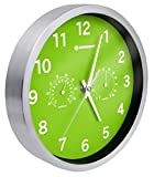 Bresser Wanduhr mit Thermometer und Hygrometer MyTime, grün