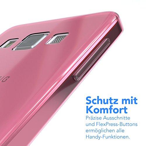 Samsung Galaxy A3 (altes Modell) Hülle - EAZY CASE Ultra Slim Cover TPU Handyhülle Matt - dünne Schutzhülle aus Silikon in Transparent / Weiß Clear Rosa