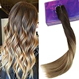 LaaVoo 18 Pouces Extensions de Cheveux Humains avec Ligne de Poisson Highlighted #3/6/24 Ash Blonde à Blond Clair et Blonde de Platine 80 Grammes Remy Halo in Extension Largeur de 11 Pouces