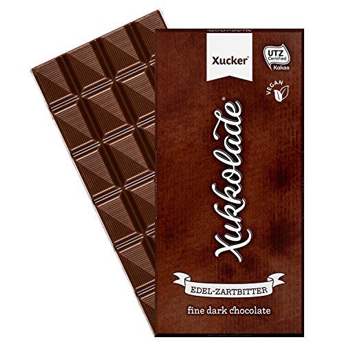 Xucker vegane Edel-Zartbitterschokolade gesüßt mit Xylit - 100g-Tafel, Schokoladengenuss mit zahnfreundlichem Xylit - UTZ-zertifizierter Kakao - GMO-frei - aus nachhaltigem Anbau