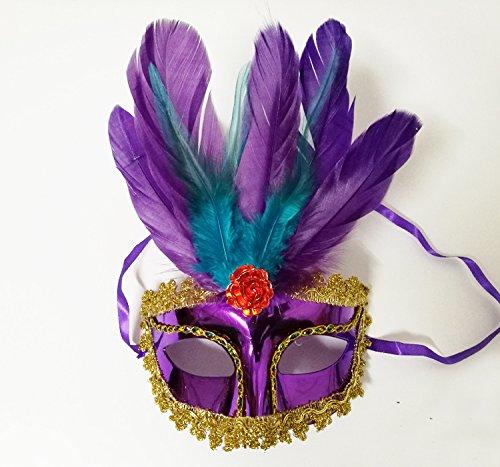 thematys Venezianische Venetianische mit Federn Lila Maske Maskerade Karneval Fasching Verkleidung Kostüm Halloween Party Maskenball Ball Shades of Grey Mr Grey Mitternacht