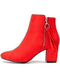 Zapatos de Tacón Alto Mujer de Primavera - Gamuza Ankle Boots Martin Boots para Mujer,