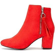 1998ba058 Zapatos de Tacón Alto Mujer de Primavera - Gamuza Ankle Boots Martin Boots  para Mujer