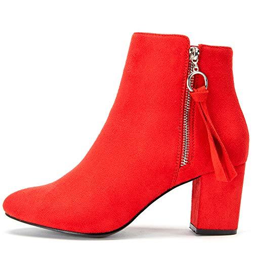 Zapatos de Tacón Alto Mujer de Invierno - Gamuza Ankle Boots Martin Boots para Mujer, Botines Tacón 6 CM, La Mejor Opción para El Uso Diario YKM004-RED-36
