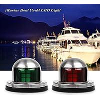 Luces de navegación del barco, UNO verde y marina marina roja Las luces llevadas del yate, luces de navegación del arco del acero inoxidable, DC 12V
