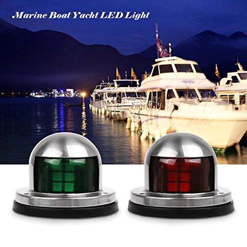 Lampes de navigation pour bateaux, ONEVER Green et Red Marine Boat Yacht Led Lights, Acier inoxydable Bow Lights de navigation, DC 12V