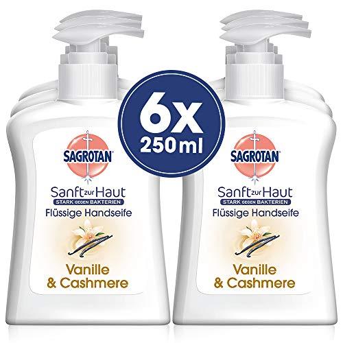 Sagrotan Handseife Extra Pflege Vanille & Cashmere - Antibakterielle Cremeseife - 6 x 250 ml Seifenspender im praktischen Vorteilspack