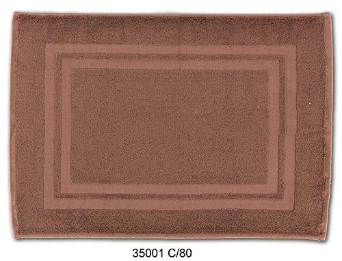 Alfombra de baño en MARRON. Tamaño: 50x70 cm. Rizo de Algodón 100%, muy absorvente. Gramaje:500 gr/m2.