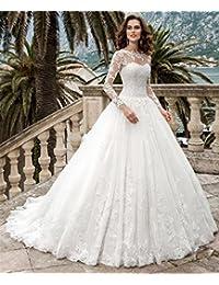 LUCKY-U Vestito da Sposa Bianca Lungo Donna Elegante Abito da Sposa Treno  della Cappella Nozze Festa Decorazione 2d718b5365a