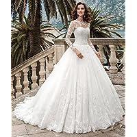 HAPPYMOODVestidos de novia Vestido de novia Blanco Largo Mujer Elegante Vestido de novia Capilla de tren