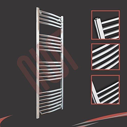 400mm (w) x 1200mm (h) - Radiateur sèche-serviettes incurvé chromé Barre Horizontale Diamètre: 22mm, Bar Modèle: 4 + 5 + 6 + 7