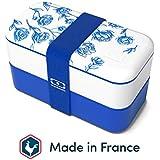 monbento - MB Original Porcelaine bento box bleu / blanc Made in France - Lunch box hermétique 2 étages - Boîte repas idéale pour le travail/école - sans BPA - durable et sûre