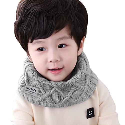 FakeFace Kinder Schlauchschal Tuch Loopschal Loop gestrickt Rundschal Halstücher Winter Schal für 2-10 Jahre Baby Mädchen Jungen