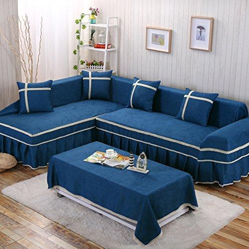 YEARLY Telar Funda de sofá, Europeo Funda para sofá Sala de Estar Encaje Vintage Funda para sofá con el cordón Funda Cubre sofá Four Seasons-Azul Left L 170x260cm(67x102inch)