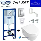 Grohe WC Rahmen + Villeroy Boch Omnia Wandhängendes WC Pfanne mit Soft Close Sitz