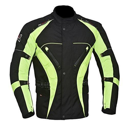 NORMAN Herren Motorrad Motorrad Jacke Wasserfeste Textil CE Schutzpolster schwarz & Grün (HiVis) - Grün (HiVis), Large (Motorrad-jacke Grün)