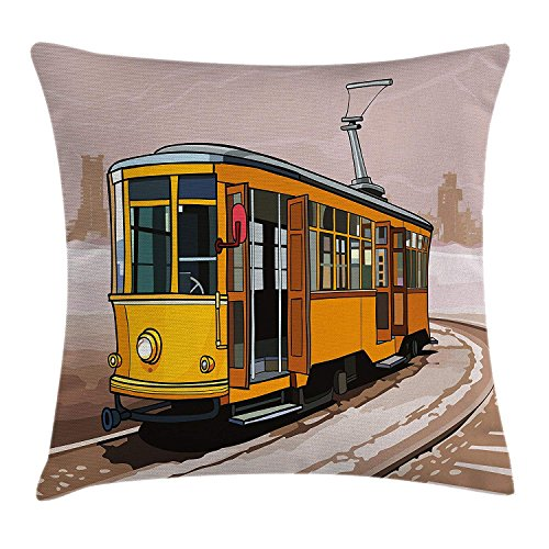 DHNKW Modern Throw Pillow Cushion Cover, Yellow Train on Rail Roads Winter Scenery Old Suburban Illustration, Decorative Square Accent Pillow Case, 20 X 20 inches, Yellow and Light Brown