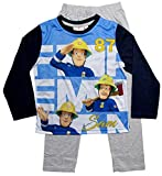 Feuerwehrmann Sam Schlafanzug Jungen Lang Pyjama (Blau-Grau, 104)