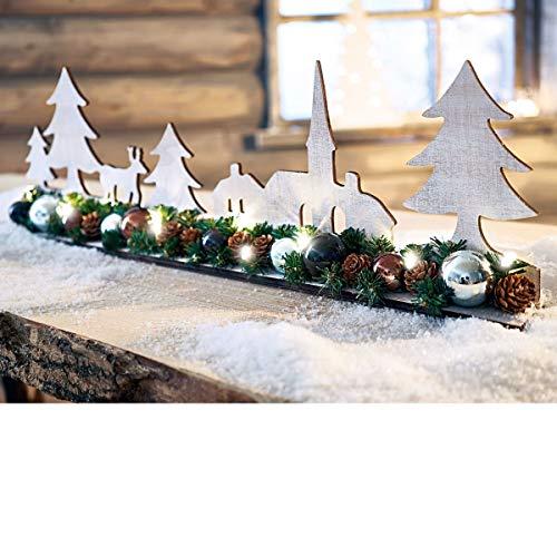 Pureday Weihnachtsdeko - Silhouette Winterwald - LED Beleuchtet - Holz Weiß - Breite ca. 58 cm
