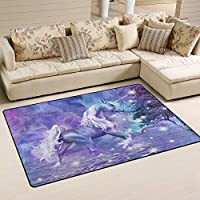 XiangHeFu Area Rugs for Living Dining Bedroom Doormats Decorative Abstract Purple Unicorn 2