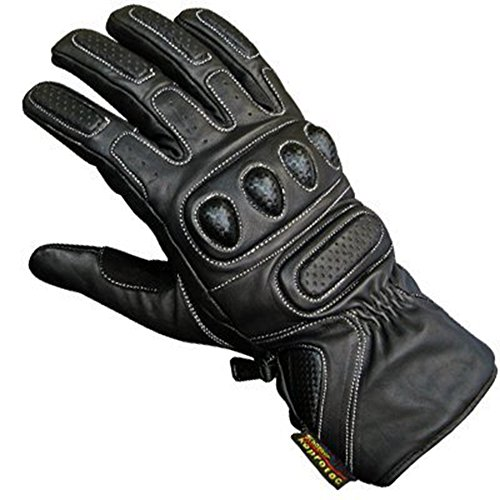 Juicy Trendz Hohe Qualität Rindsleder Profi Motorrad Handschuhe Schwarz Medium