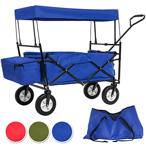 tectake-faltbarer-bollerwagen-mit-dach-und-extra-tragetasche-diverse-farben-blau-nr-402316