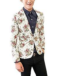 Sourcingmap–® hombres con muescas solapa Allover floral Back rejilla elegante lino Blazer