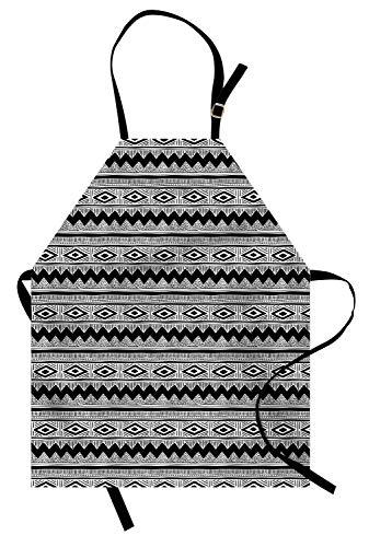 Holzkohle Grau Streifen (Monochrome Schürze, Zickzacks Polka Dots Streifen und Striche Native Style Illustration, Unisex-Küche Latzschürze mit verstellbarem Hals zum Kochen Backen Gartenarbeit, Holzkohle Grau und Weiß)