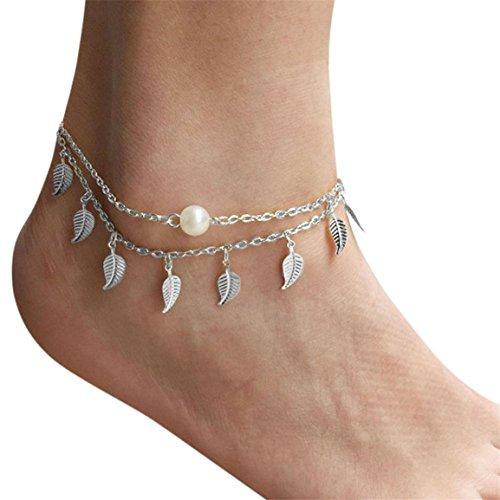 Moonuy Damen Kette Kleine 2018 Mode Frauen Hochzeit Box Silber Bead Kette Knöchel Armband Barfuß Sandale Strand Hot Girls Handmade Fuß Schmuck (E) -