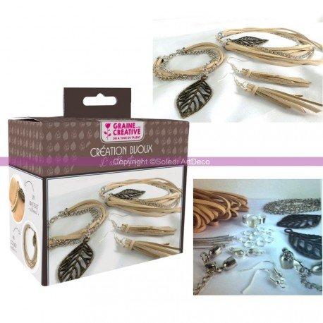 Kit Schaffung von Schmuck Thema Blatt, DIY Armband, Halskette, Ring, Ohrringe (Kostüm Schmuck Deco Art)