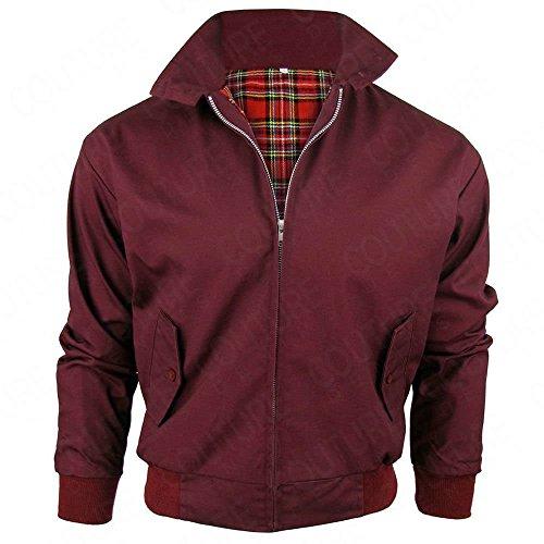 Harrington-Jacke mit kariertem Futter, gefertigt in Großbritannien, Herren, mit Reißverschluss, klassische Bomberjacke Gr. XL, BURGUNDY...
