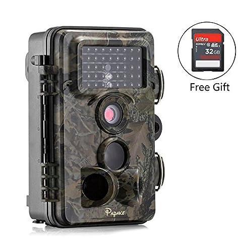 Wildlife Camera, Papake 12Mp 1080P HD Night Vision Infrared Trail & Game Camera 42 Pcs Ir LEDs 120°Wide Angle 2.4