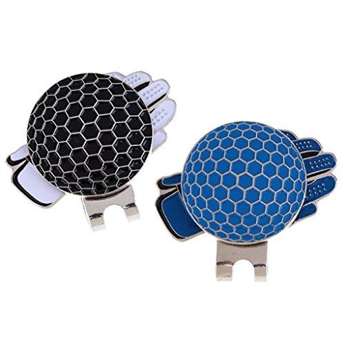 MagiDeal Set de 2pcs Marqueur Magnétique de Balle de Golf Avec Pince Chapeau Ceinture Golf Design Gants de Golf