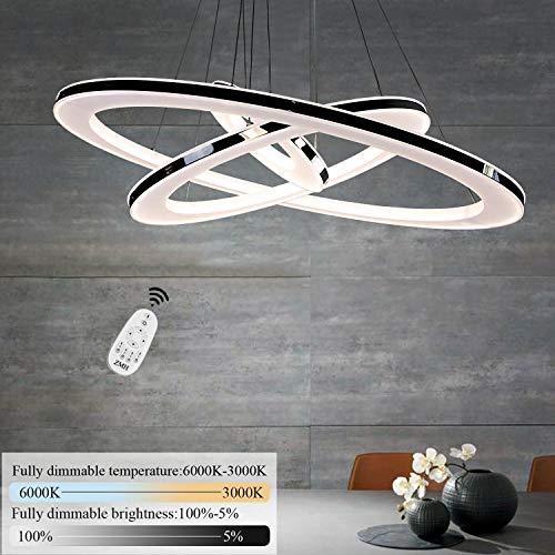 ZMH Moderne LED Pendelleuchte esstisch 73 W Led 3-Ring led dimmbar Fernbedienung Hängeleuchte Wohnzimmer Deckenleuchte Schlafzimmer Höhenverstehbar Hängelampe Kronleuchter [Energieklasse A++]