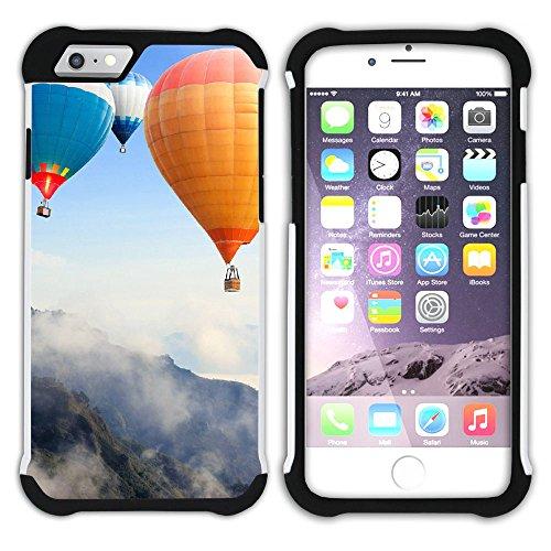 Graphic4You Heißluftballon Sicht auf den Himmel Flug Hart + Weiche Kratzfeste Hülle Case Schale Tasche Schutzhülle für Apple iPhone 6 / 6S Design #14