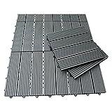 WPC Holz Fliese 30x30cm, 1 m² (11 Fliesen) braun und anthrazit versandkostenfrei (D) … (Grau)