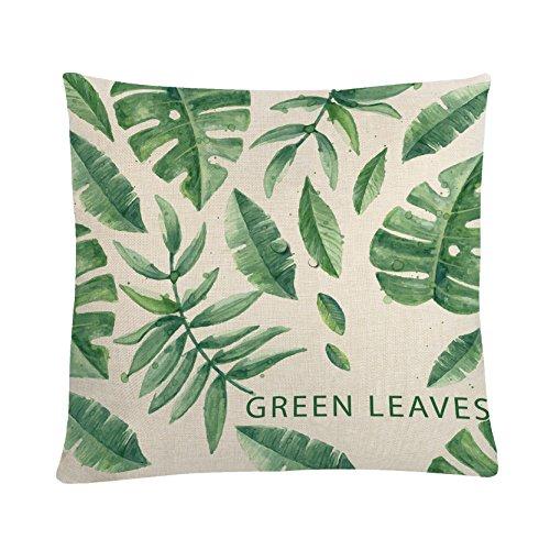 MAYUAN520 Coussins Fashion Housses De 45 * 45Cm Vert Imprimé Feuilles Taies pour Canapé-Lit Chaise Siège du Registre Décoration De Jeter Les Taies.