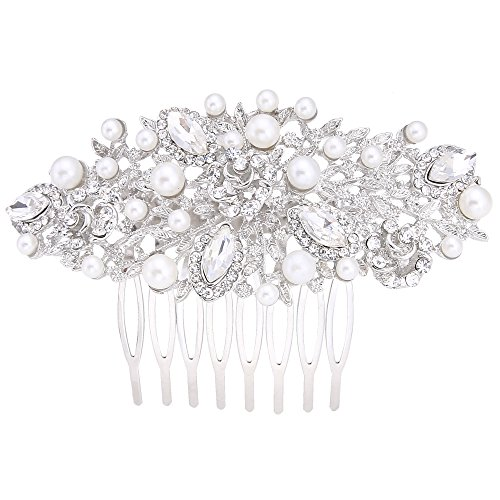 EVER FAITH Crystal Ivory Color Simulated Pearl Bride Comb Romantic Hair Clip - Silver-Tone N03533-1